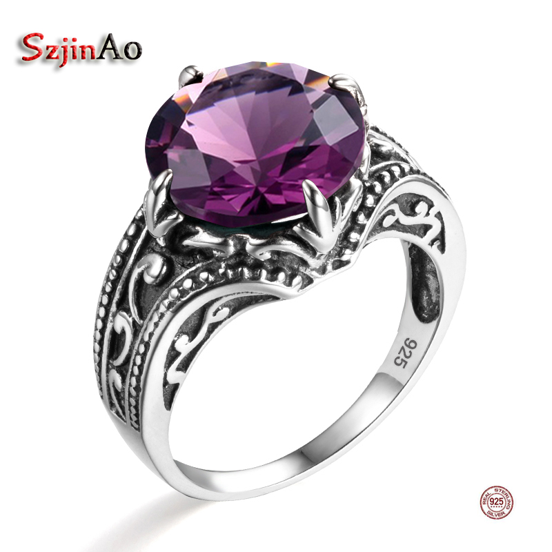 Szjinao Purple Jewelry Women Wedding Ring Crystal Romantic Real Pure 925 Sterling Silver Jewelry Ethnic February Birthstone RingSzjinao Purple Jewelry Women Wedding Ring Crystal Romantic Real Pure 925 Sterling Silver Jewelry Ethnic February Birthstone Ring