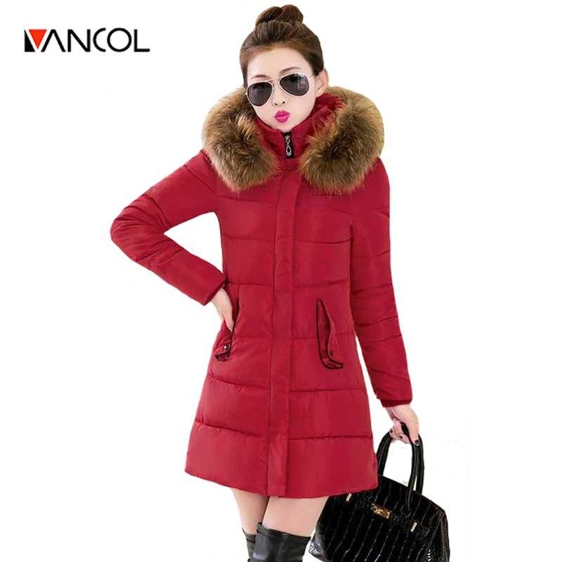 Vancol 2016 Plus Size 3 XL  Korea Fashion Female Outwear Thick Warm Parka Oversize Fur Collar Down Women's Winter Coat With Hood