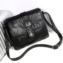 لينة جلد المرأة حقيبة ساعي المرأة عادية الكتف حقيبة كروسبودي حقيبة يد الإناث الأسود بولسا الأنثوية حقيبة فتاة
