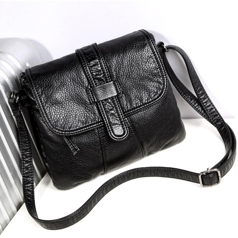 les ventes chaudes e063e 45a44 € 12.81 44% de réduction Sac bandoulière femme cuir souple sac bandoulière  femme décontracté sac à main femme noir bolsa feminina sac fille-in ...