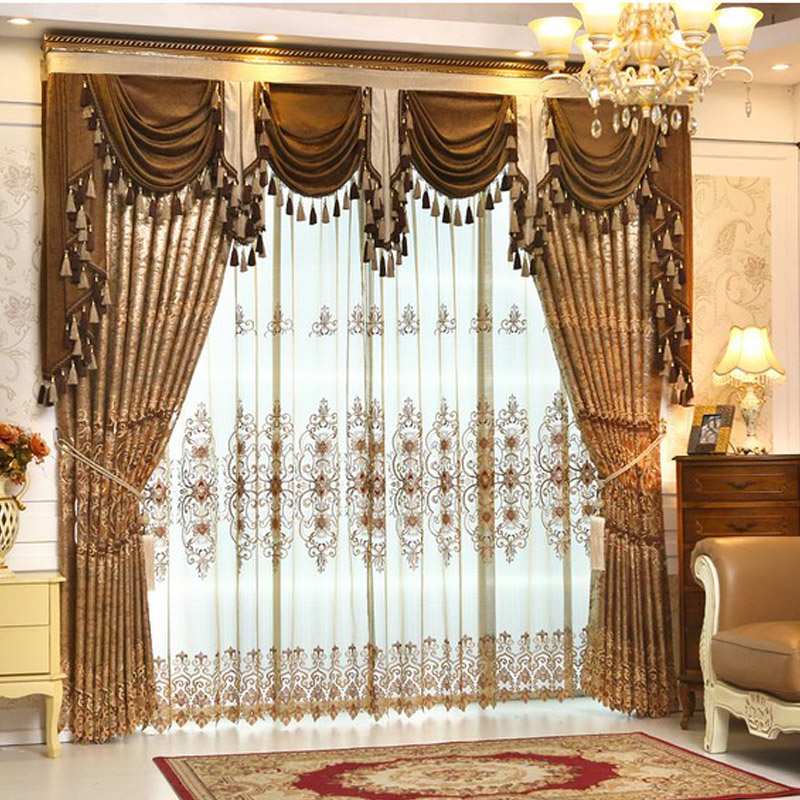 Helen Curtain Luxury Gold Embroidered Curtains For Living Room European Style Valance Window Treatment Decorative L 37 In From Home