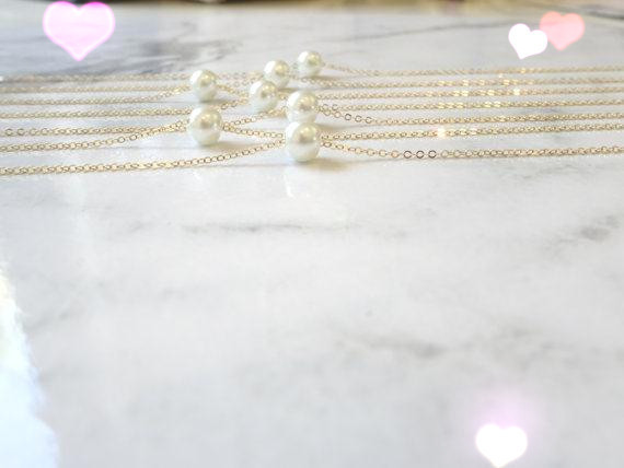 HTB1A8oRLVXXXXc XVXXq6xXFXXX6 - simple imitation pearl necklace gold pearl necklace bridesmaid filled, single floating white / ivory necklace