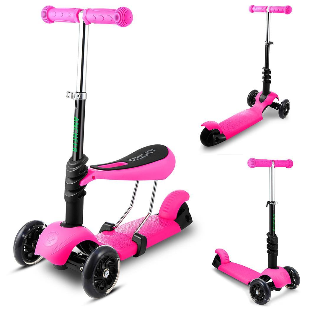 ANCHEER Children Mini Kick Scooter 3-Wheel Iron Kick Scooter Handle T-Bar and Seat Adjust Height Foot-Scooter For ChildANCHEER Children Mini Kick Scooter 3-Wheel Iron Kick Scooter Handle T-Bar and Seat Adjust Height Foot-Scooter For Child