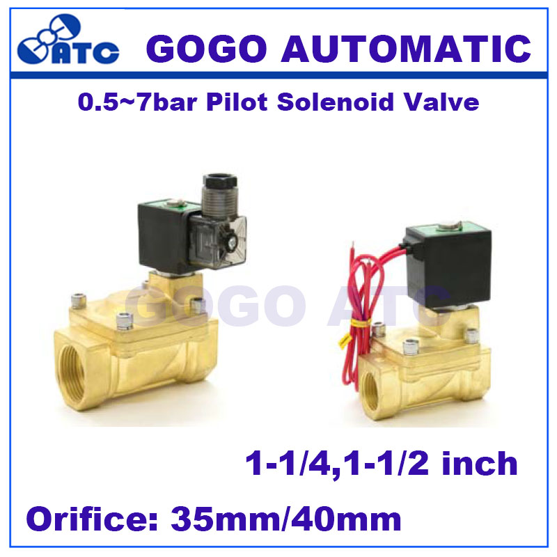 2 way Pilot Diaphragm Brass water pneumatic normally closed electric Solenoid Valve NBR 1 1 2