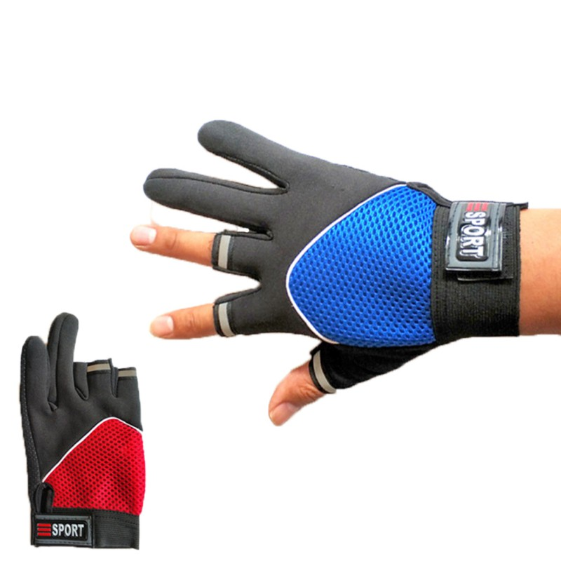 3 Cut Finger Sport Fishing Gloves Lightweight Breathable Anti Slip UV Protection Outdoor Autumn Winter Handwear Sportswear