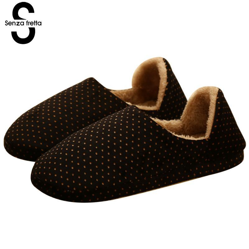 Senza Fretta Men Shoes Couple Winter Warm Plush Slippers Bag Heel Thick Bottom Cotton Slippers Indoor Non-slip Soft Slippers soft house coral plush slippers shoes white