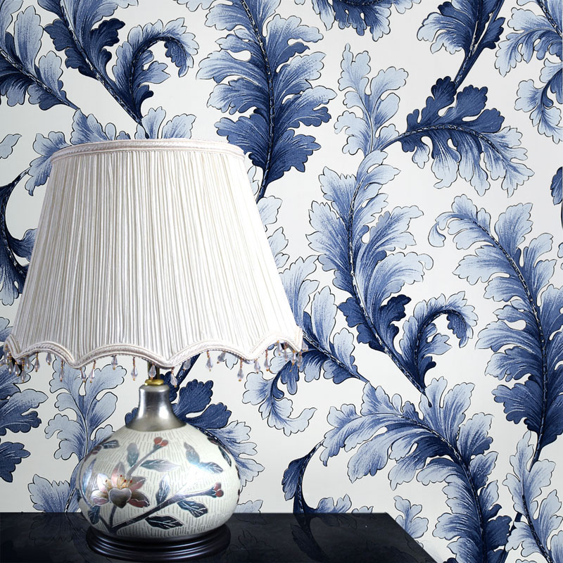Chinese blue and white porcelain wall mural wall paper for Blue wallpaper for walls