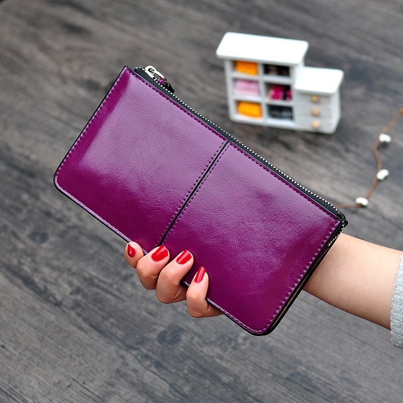 Women Wallets Candy Oil Leather Wallet L
