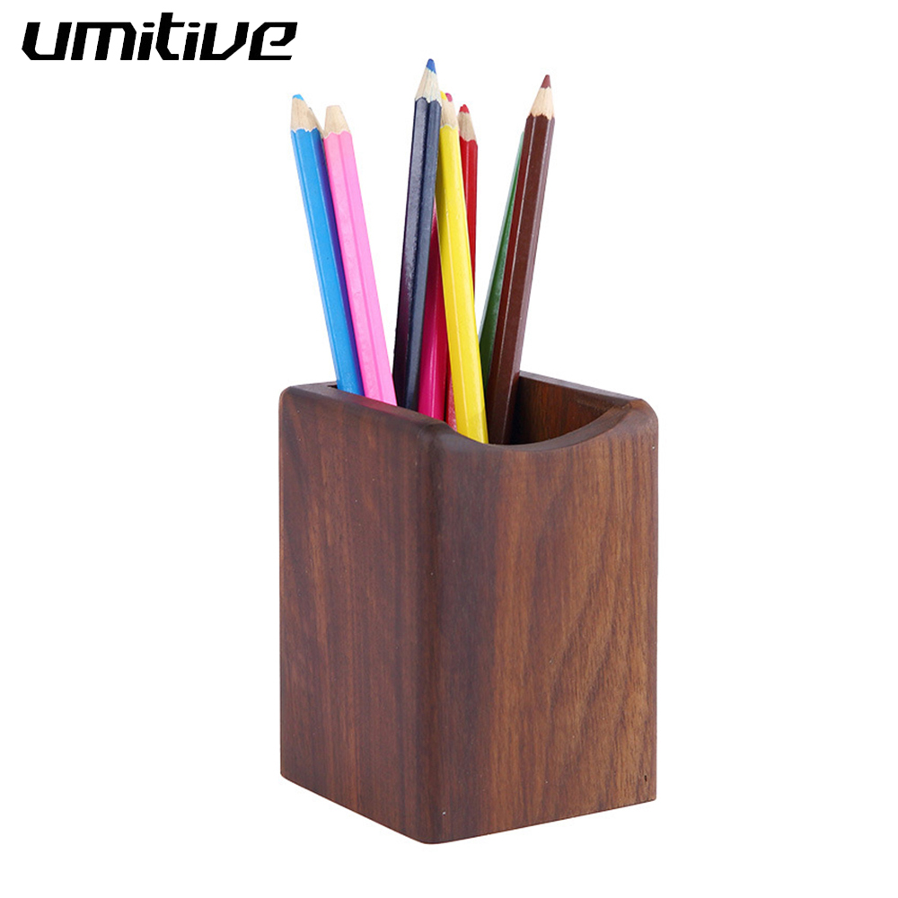 Umitive 1 Pcs Pen Holder Multi-function Square Walnut Wood Makeup Brush Storage Case Creative Office School Desktop Storage