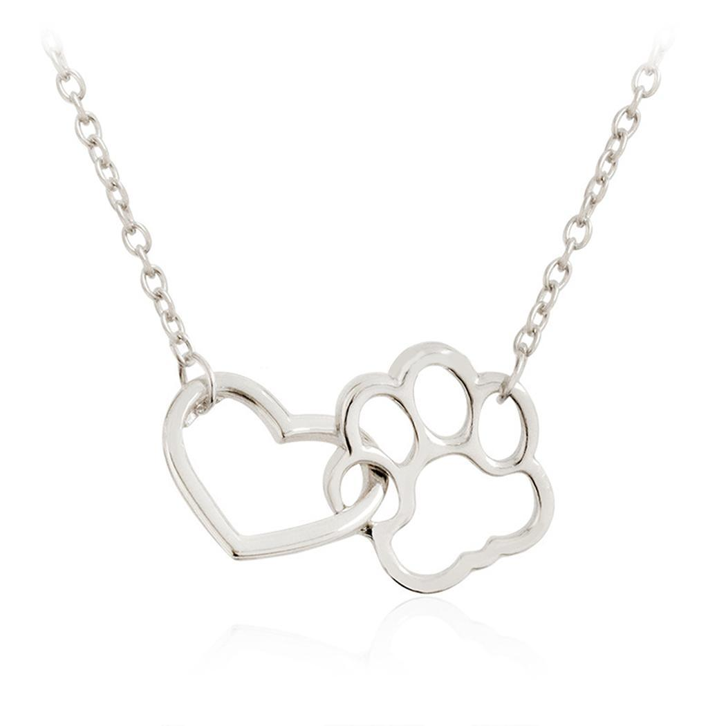 JDX Unique Heart Shaped Necklace Jewelry.Cute Dog//Cat Animal Paw Print Pendant Necklace.