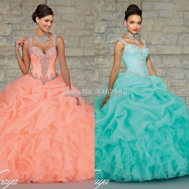 d814944f982 Gorgeous Beaded Straps Sweetheart Organza Layered Coral Mint Quinceanera  Dress Ball Gown Girl Sweet 16 Dress 2016 new