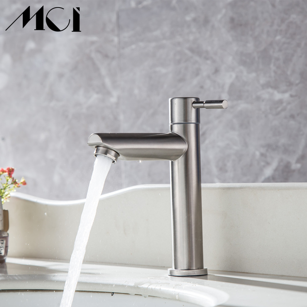Image 3 - 304 Stainless Steel Deck Mounted Sink Basin faucet Rust And Corrosion Resistance Bathroom Kitchen Single Cold Water Faucet Mci-in Basin Faucets from Home Improvement