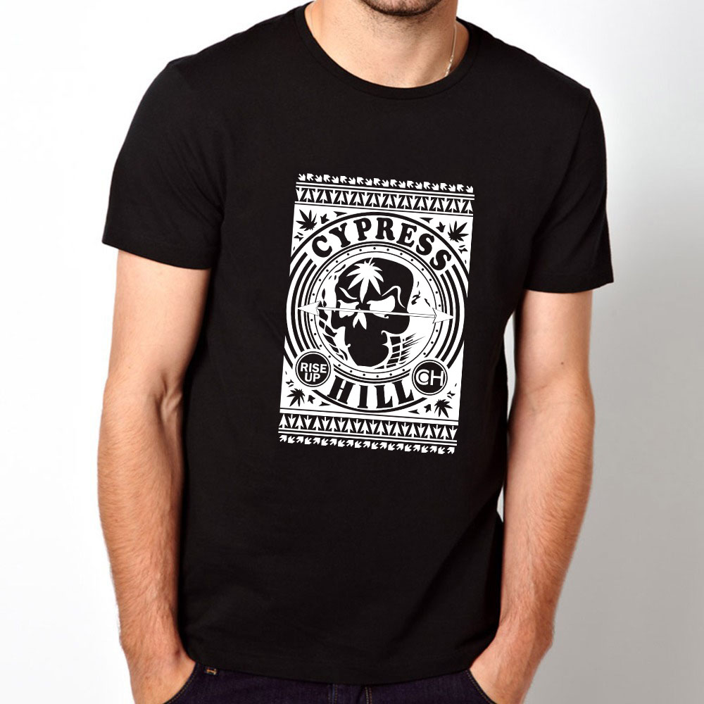 Black t shirt rolled up sleeves - Mens Fashion Tops Rock Roll Music Rise Up T Shirts Men Printed Graphic Tees Men T Shirt Cotton Short Sleeve Clothing In T Shirts From Men S Clothing