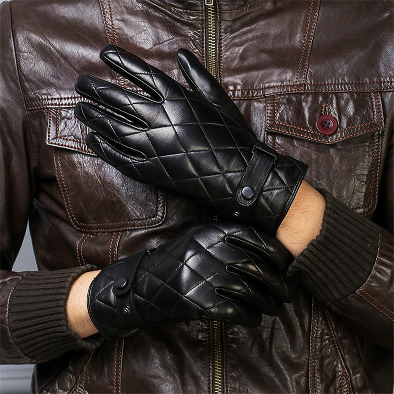 Real Leather Gloves Male Autumn Winter Plus Velvet Thicken Classic Black Fashion Plaid Embroidery Sheepskin Man's Gloves DQ1911