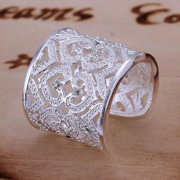Thời trang hàng đầu bạc vàng màu womenpersonality đơn giản đính đá sang trọng thời trang trang sức nhẫn đứng trái tim bạc cổ điển mô hình R106