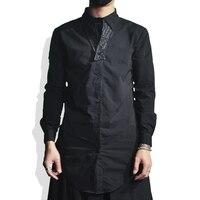 Men Slim Long Black Shirt Streetwear Mens Shirts Casual Slim Fit Men Shirt Long Sleeve Ropa De Hombre 2018 Black Shirts