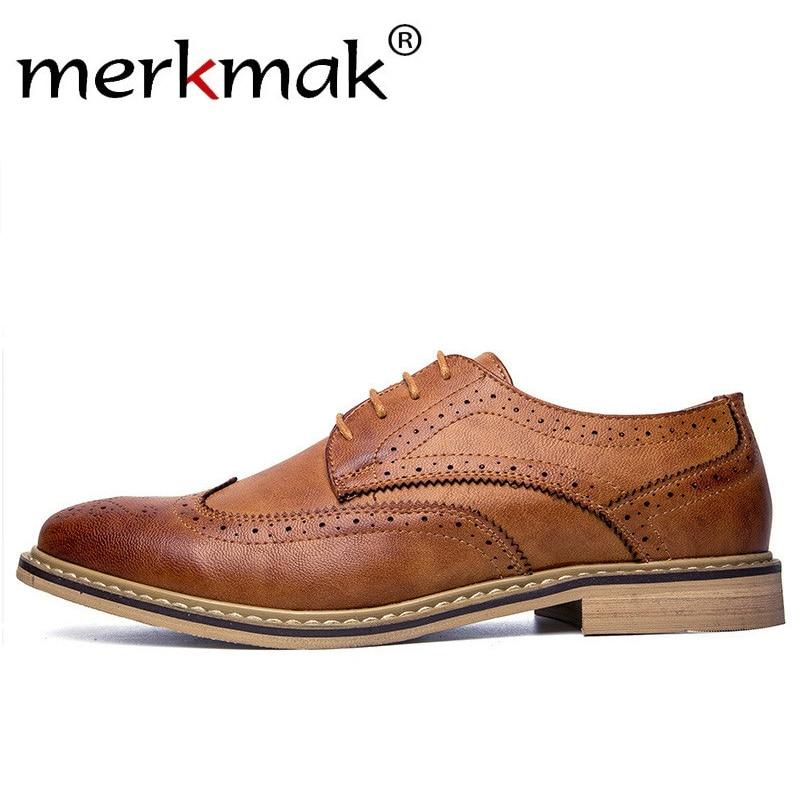 Merkmak New Arrival Luxury Italian Men Brogue Dress Shoes Formal Business Oxfords Shoes for Men British Brand Men Leather Flats