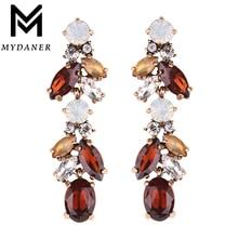MYDANER Fashion Luxury Crystal Leaf Large Earrings Long Drop Earrings for Women Wedding Party Jewelry Accessory
