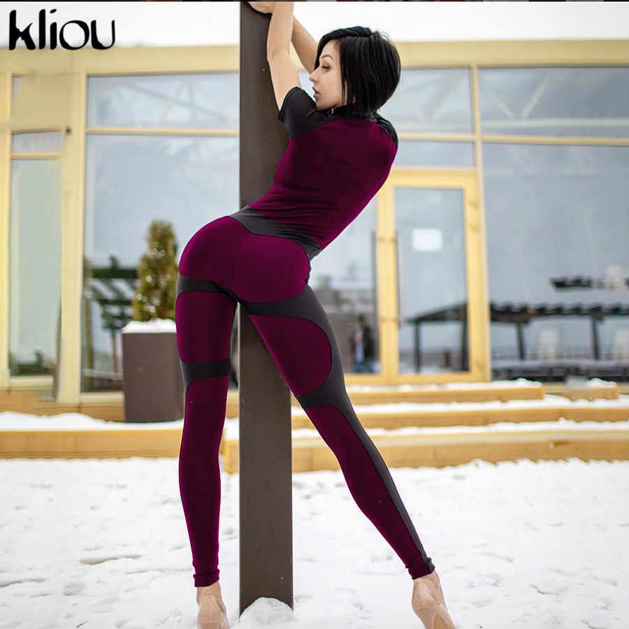 Kliou color fluorescente patchwork mujer push up fitness monos 2018 Otoño Invierno manga larga para mujeres con cremallera completa turtneck mono
