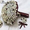 Ramo de cristal Broche de Perlas Ramo De La Boda Para Las Novias Que Sostienen Las Flores Joyería Vino Mariage Nupcial Ramo De La Flor
