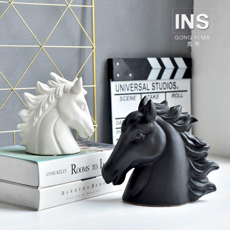 The Horse Head Ceramic Figurine Vintage Home Decor Craft Miniature Animal Horse Head Figurine Decorative Ceramic Nordic Ornament