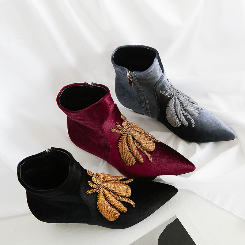 Casidueho Women Ankle Boots Suede Leather Motorcycle Short Booties Sexy Pointed Toe High Heels Shoes Woman Embroidery New Boots