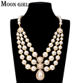 Moon girl 2017 Fashion Simulated Pearl Rhinestone Choker Trendy jewelry display Statement Chokers Necklace for women accessories
