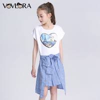 Sequins Plaid Patchwork Dress For Girl Summer Cotton Slim Kids Dresses Fashion Teenagers Clothes 2018 Size