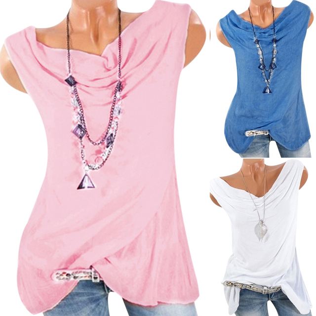 Plus Size Sleeveless Blouse Women Tunic Tops Vintage Bow Neck 2018 Summer Tee Shirts Casual Loose Cotton Blusas Camisa Feminina 5