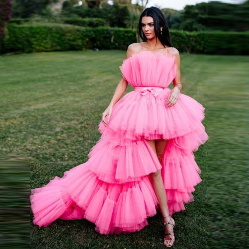 Robe de soiree 2019 Sweet Pink Hi Low Evening Party Dresses Long Train Formal Dresses Puffy Tulle Chic Tiered Ruffle Prom Gowns