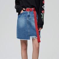 MetersBonwe Denim Skirt High Waist A-line Mini Skirts Women Frayed Irregular skirt 2019 Summer New Arrivals 3
