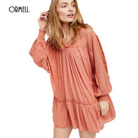 ORMELL Autumn Loose Casual Women Dress Girls 2017 New Fashion Vintage Sexy Beach Long Sleeve Mini