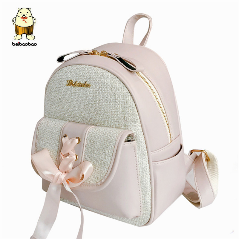 Beibaobao Fashion Simple Preppy Style Small Backpack for Teenage Girl Casual Schoolbag Silk Bow Design Shoulder Bag 2