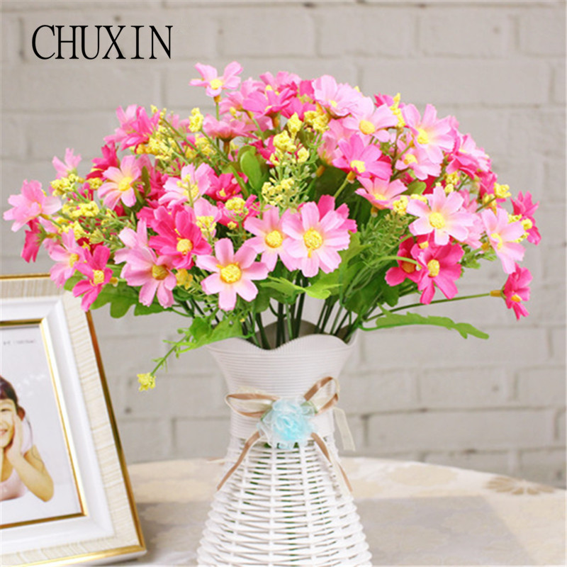7 branch/28 heads Artificial Cute Beauty Daisy Silk Flower Bouquet Wedding Flowers Home Decoration Fake Flores Artificiales