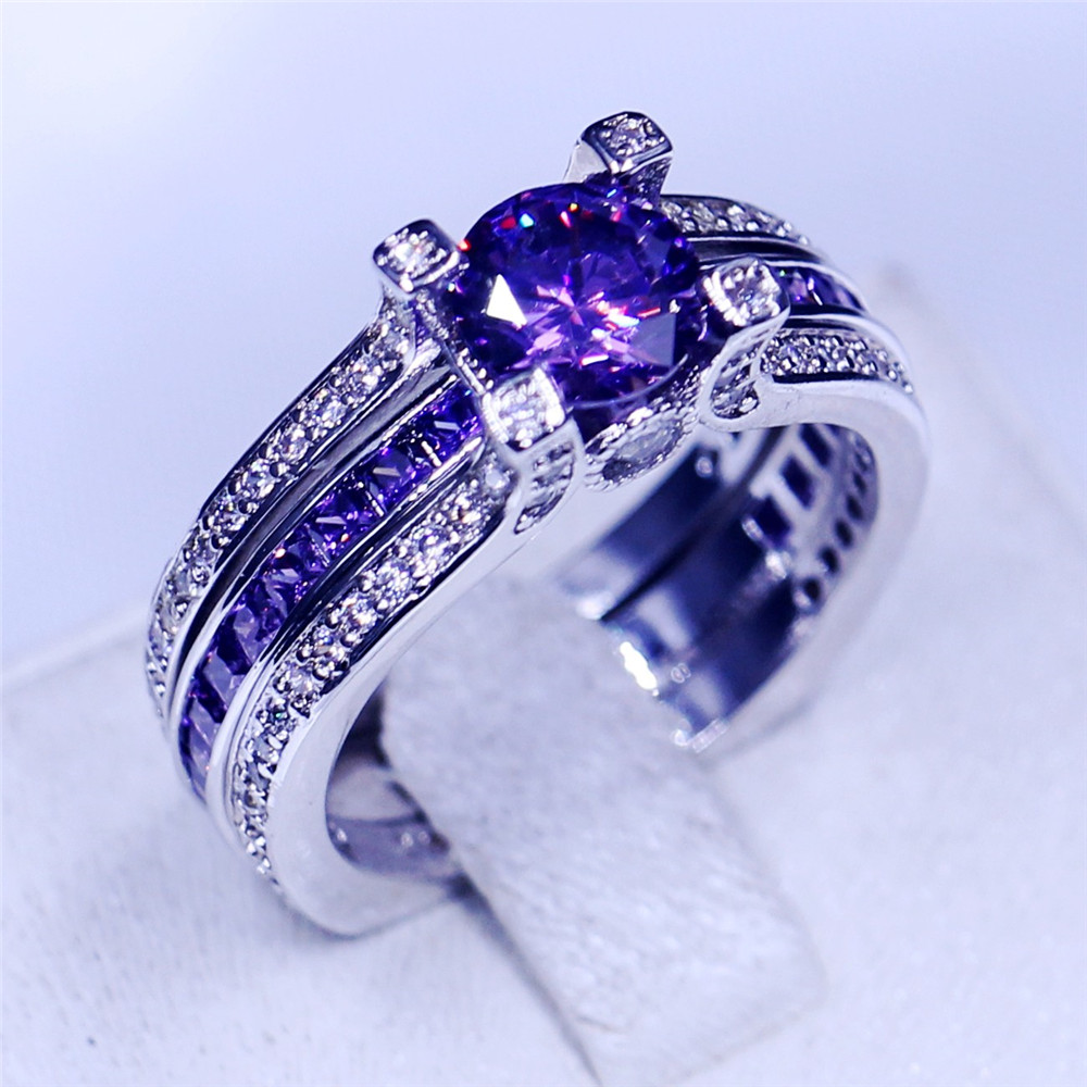 india jewelry birthstone wedding ring promotion birthstone wedding rings Victoria Wieck 2 in 1 Party wedding band rings for women men 5A Zircon stone Cz Sterling silver Birthstone Female Ring set