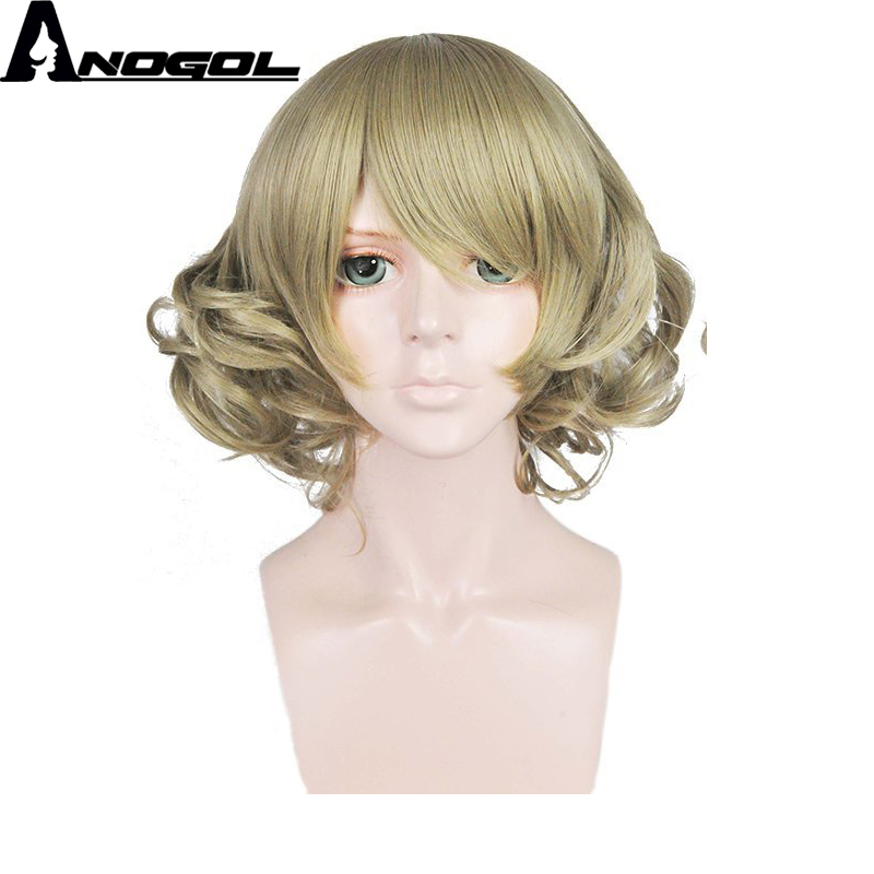 Anogol High Temperature Fiber Final Short Body Wave Bob Fantasy Army Green Synthetic Cosplay Wig For Halloween Party