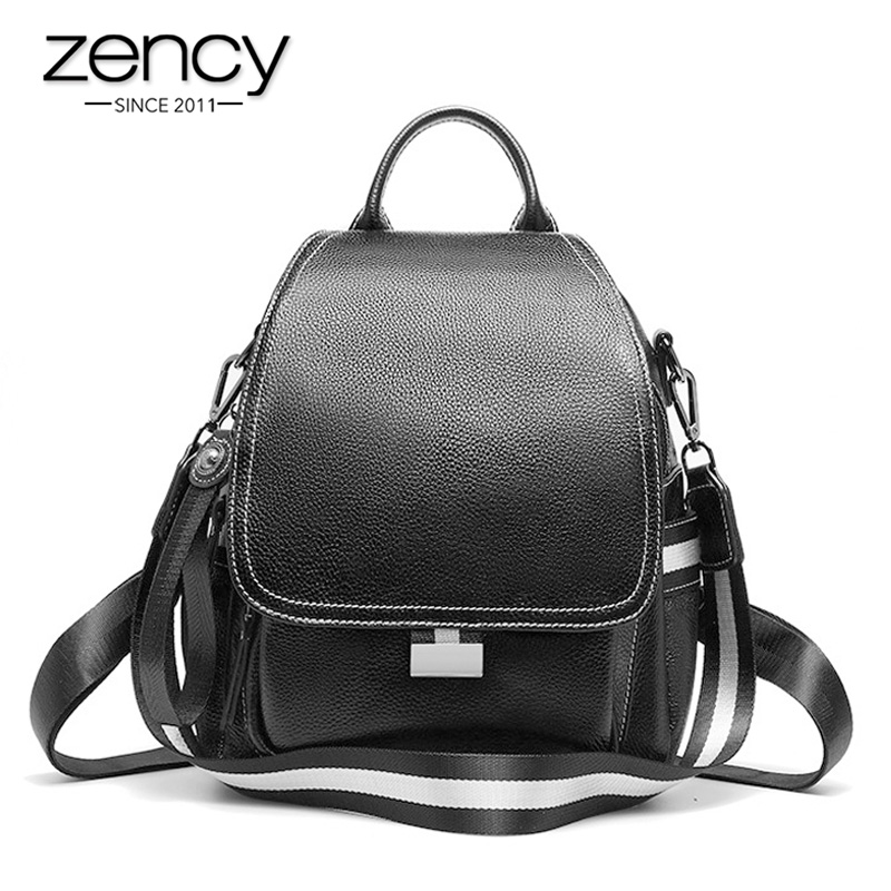 Zency Anti-theft Design Cover Women Backpack 100% Genuine Leather Vocation Beach Knapsack Daily Casual Schoolbag Bag Black Blue