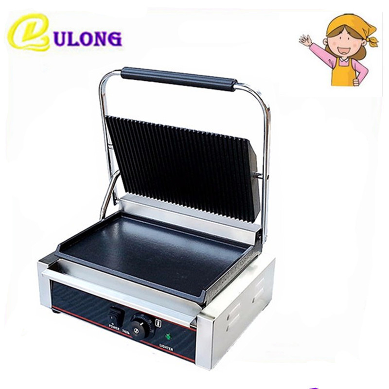1PC 220V commercial Stainless steel  electric griddle   grill machine Steak  Sandwich Toaster Maker stainless steel electric grill griddle teppanyaki griddle dorayaki grill machine with double temperature controllers