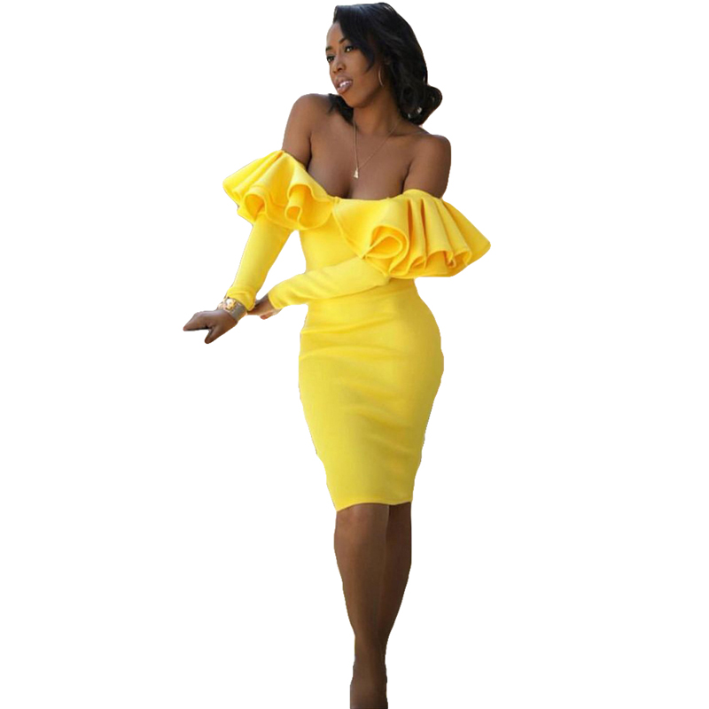 dded2ed17df3 Wine Yellow Sexy Off Shoulder Ruffles Slash Neck Bodycon Dress Hot Sale  Winter Fashion Night Out Party Wear Woman Dresses Online