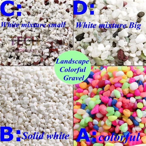 Naturalny śniegowy żwir do akwarium kolorowy kamień do akwarium krajobrazowy ogródek ogrodowy selektywny piasek żwirowa dekoracja 250g / 500g