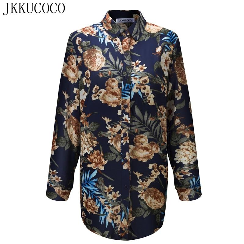 JKKUCOCO Chinese Style Rose Print Women shirts single breasted Casual shirt Thin Material Cotton Shirt Women