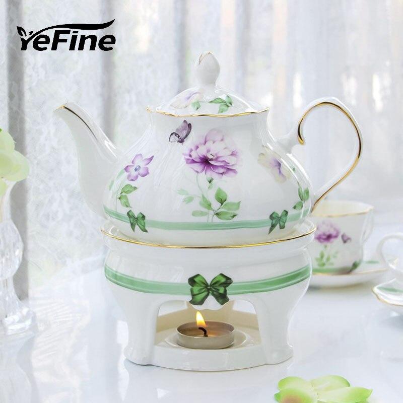 YeFine céramique après-midi Teaware Set Style coréen papillon aime fleurs en céramique thé ensemble os chine théière et tasses à thé