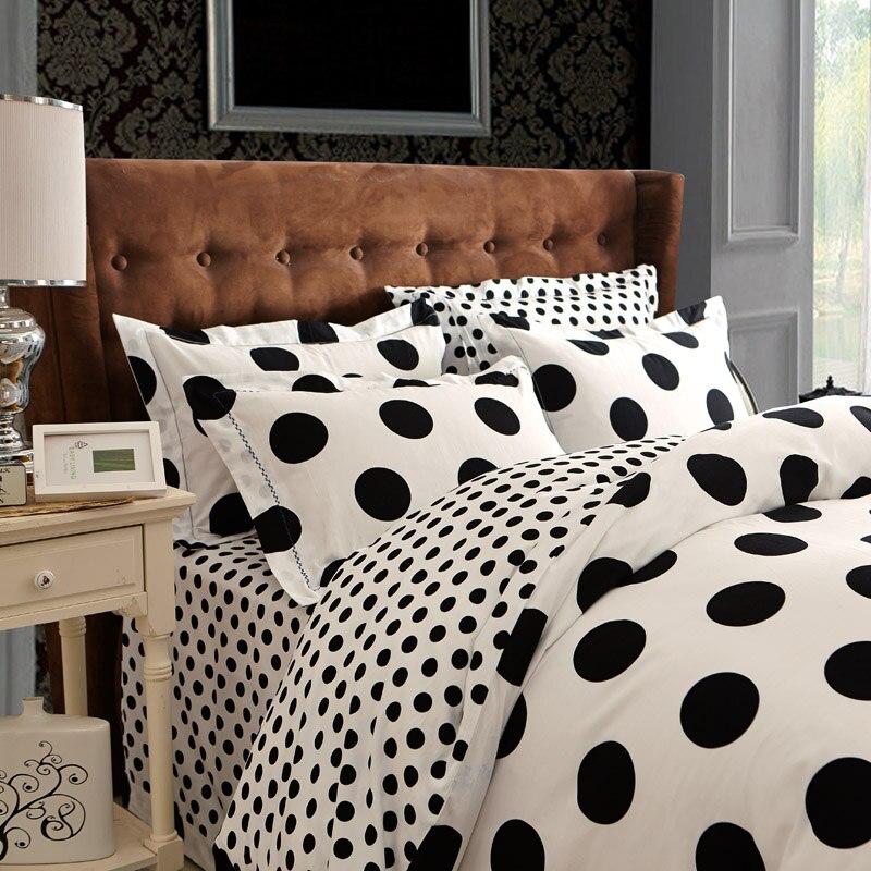 Online Shop 100 Cotton New Bedclothes 4pcs Lot Bedding Set Black And White  Color Bed Set