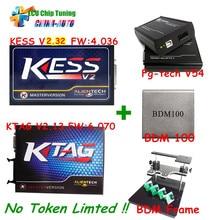 Новейшее Поколение KTAG программирование ЭБУ KTAG Нет Жетоны Ограничение V2.13 + kess v2 V4.036 V2.32 + FG tech V54 + BDM рама + BDM 100