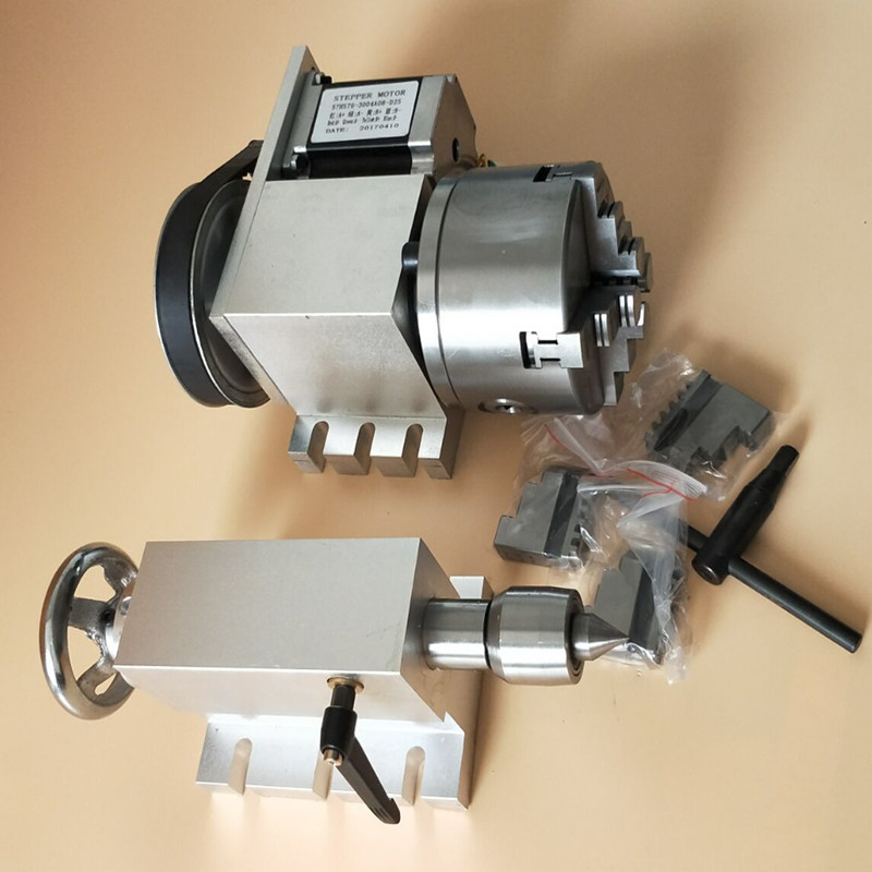 Nema 34 Stepper Motor (4:1) K12-100mm 4-Jaw Chuck 100mm CNC 4th Axis A Aixs Rotary Axis + Tailstock For Cnc Router