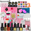 Nail art gel nail polish kit professional with 36W led lamp & uv gel polish base top cost & nail glitter french manicure