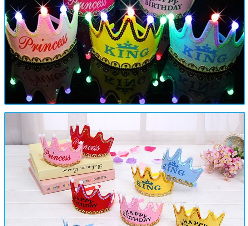 Cartoon Hats Glorious Led Light Birthday Toy Hat For Adults Kids Crown Hat King Princess Party Cake Decoration Photo Props Birthday Toys For Children