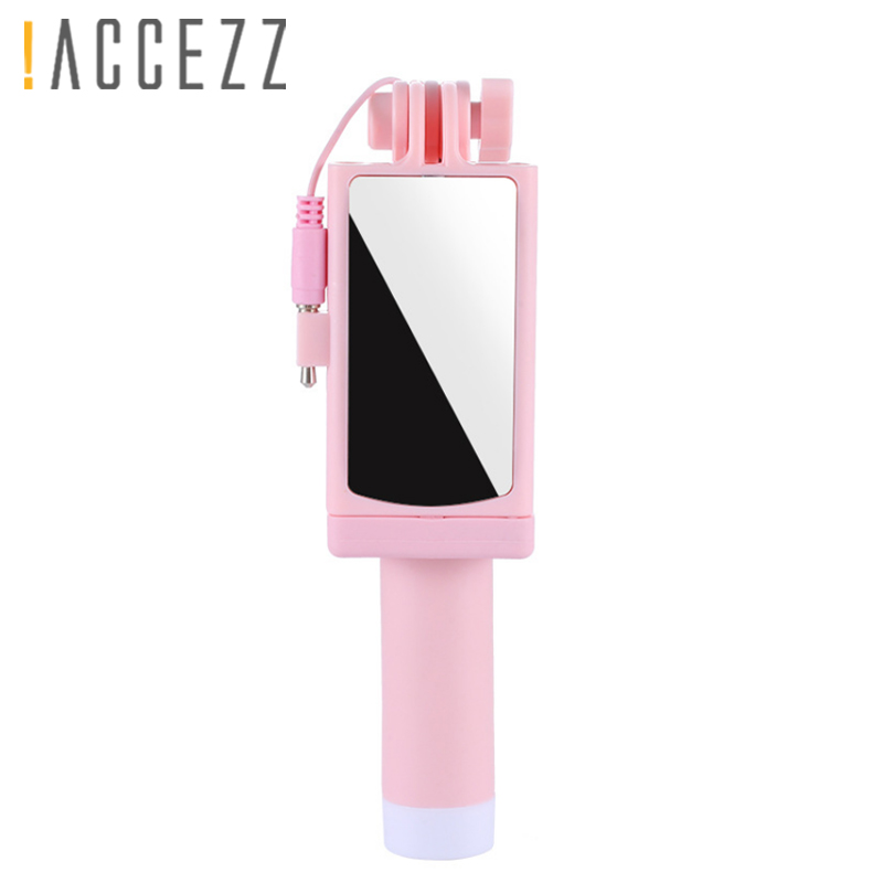 !ACCEZZ Mini Wired Selfie Stick IOS For iPhone X XR XS MAX 8 7 6 Huawei Samsung Monopod Foldable Portable Selfiestick Mirror
