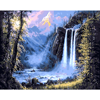 Diy Oil Painting By Numbers Acrylic Coloring Paint By Number Landscape Waterfall Picture Wall Decor Hand