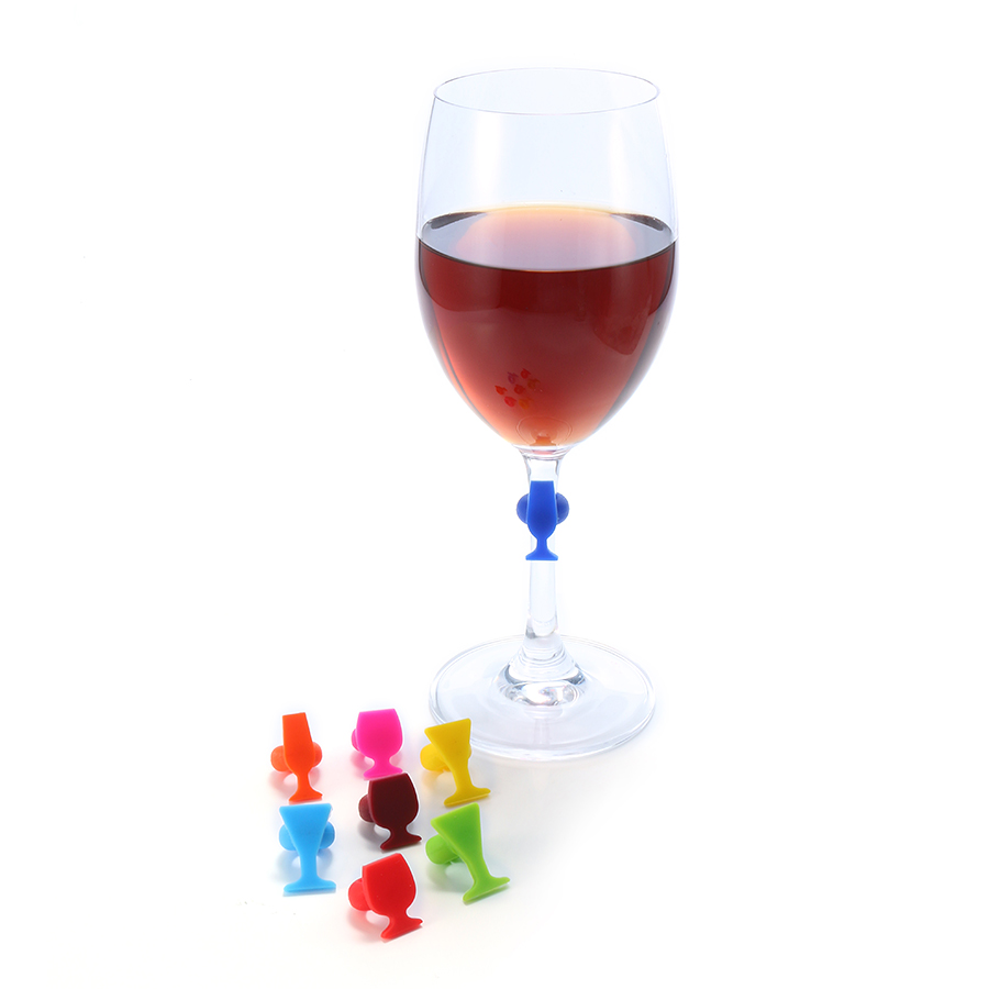 8pcs Silicone Wine Glass Shape Wine Glass Markers Charms